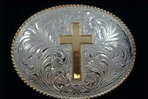 Crumrine Western Belt Buckle Gold and  Silver Cross c10370