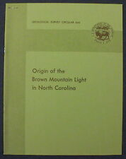 USGS ORIGIN of BROWN MOUNTAIN LIGHTS NORTH CAROLINA Vintage 1971 PRISTINE!!!