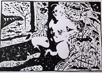 Unikat Mooseart Akt erotisches Gemälde Acryl auf Papier ca.42x59cm Original