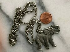 Vintage Rawcliffe Pewter I Love Elephant Necklace Pendant Jewelry 1982 w chain
