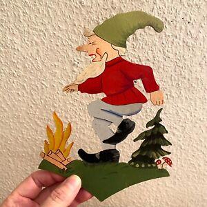 🎁 1950er Märchen-Holzbild: DDR-Figur mit Geburtstags-Widmung Werdau 20cm Deko