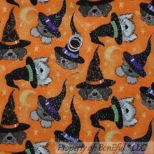 BonEful Fabric FQ Cotton Quilt ORANGE DOG Halloween Moon Witch Hat Star Glitter