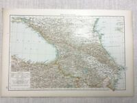 1899 Antik Map Of Die Kaukasus Caspian Sea Coast Persien 19th Century Original