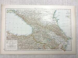 1899 Antique Map of The Caucasus Caspian Sea Coast Persia 19th Century Original
