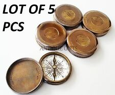 "Brass Antique Handmade Stanley London Brass Pocket 3""Poem Compass Lot of 5 pcs."