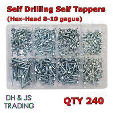 Caja de Surtidos Auto De Perforación Cabeza Hexagonal Auto Tapping Tornillos Cantidad (240) 8 10 12 Gauge