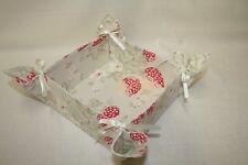 Bread Roll Basket/Tray, Strawberries fabric, Folding, Shabby chic