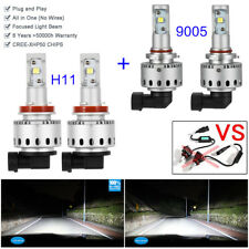 4 Bulb H11 9005 LED Headlight Combo Kit 80w 6000K Xenon White High Low Beam Lamp