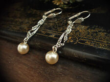 Vintage Jewellery Earrings with Marcasite and Pearl Drop