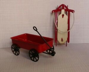 Dollhouse Miniature Outside Toys Red Metal Wagon & Metal w Wood Sled 1:12 scale