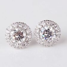 Diamond Cut Sapphire Crystal White Gold Filled Round Halo Pierced Stud Earrings