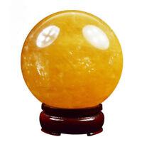 Natural Citrine Calcite Quartz Crystal Sphere Ball Healing Gemstone 100MM+Stand
