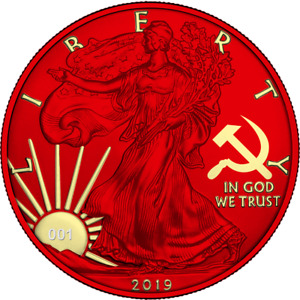 USA 2019 $1 Liberty Silver Eagle PAINT IT RED 1 Oz Silver Space Red Coin