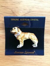 Austrian Crystal Yellow Hovawart Dog Lover Enamel Pin by Lanren-Spencer Laura