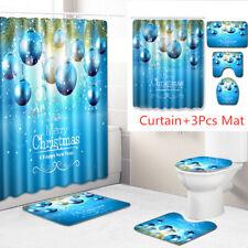 Christmas Bell Shower Curtain Bathroom Rug Bath Mat Non-Slip Toilet Lid Cover