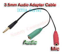 3.5mm AUX Male to Audio Mic Female Splitter Adapter Cable For iPhone 6 6+ 6S 6S+