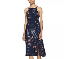 Roxy Womens Midi Dress Navy Floral Lace Up Back Slits Beachy Sundress Medium