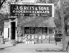 J.G. Rees Grocery Store, Topeka, Kansas - 1938 - Historic Photo Print