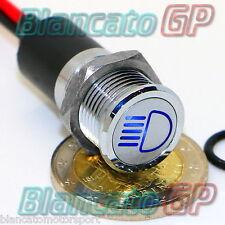 SPIA LED 14mm CON SIMBOLO ABBAGLIANTI metallo 12V high beam indicator light BLU