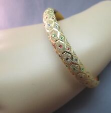 """14k Yellow Gold Bangle Bracelet Textured Enamel Accents ARB 8mm Wide 7"""" 9.47g"""