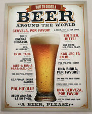 How To Order A Beer Around The World Fun Tin Sign Wall Art Bar Related  #1808
