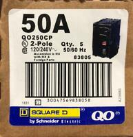 BOX OF 5 SQUARE D QO250CP QO250 50AMP 2 POLE CIRCUIT BREAKER
