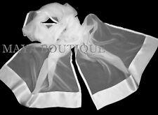 White Chiffon Silk Scarf Wrap Sash Satin Border Maya Matazaro & Gift Box