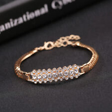 Fashion Women's Vintage Gold Plated Crystal Bangle Punk Cuff Bracelet Jewelry