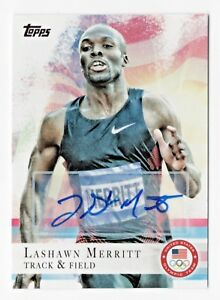 2012 Topps USA Olympic Team Autograph #22 LaShawn Merritt Track Gold 400 Meters