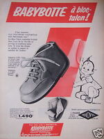 PUBLICITÉ 1956 BABYBOTTE FOURRÉ A BLOC-TALON - KIDDYBOTTE - ADVERTISING