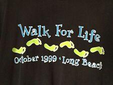 Womens T Shirt 2X Black Footprints Walk For Life Long Beach, CA '99 Fundraising