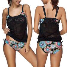 NWT Womens blouson tankini swimsuit black multi XXL 2XL