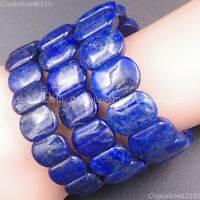 Natural Lapis Lazuli Gemstone Oval Beaded Healing Reiki Stretchy Bracelet 12mm