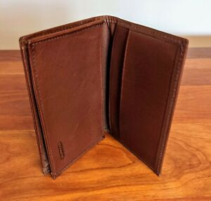 Coach Leather Card Holder, Brown, Card Case Large, Slim Id Card Case