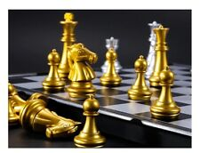 Medieval Chess Set high quality chessboard gold silver magnetic board fun gambit
