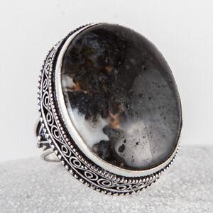 Wunderschöner, großer Silber Ring, 925, Achat Stein, Schwarz, Größe: 59
