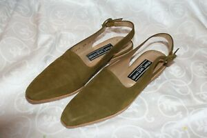 Vintage Stuart Weitzman Olive Green Suede Slingback New ( slim) Size 6.5 SS