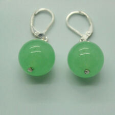 On Sale New Fashion 10mm Light Green Jade Round Beads Silver Leverback Earrings