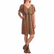 Stetson Size L Aztec Serape Printed Chiffon Dress Short Sleeve  Brown $72.00