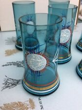 """Lot of 6 Glass Turquoise Hand Painted Enamel Art 5"""" Tall"""