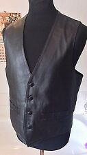 "vintage Merlin Skin ~black all leather waistcoat black leather buttons ~ L 42"" R"