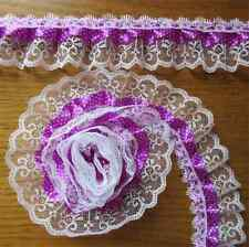 5 Yd 2-layer Pleated Organza Dot Lace Trim Gathered Wedding Ribbon Sewing Craft