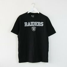 VINTAGE BLACK OAKLAND RAIDERS SPELL OUT NFL T SHIRT TOP LA FOOTBALL   LARGE