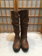 White Mountain Side Zip knee high Boots Low Heel scrunch riding 9 M taupe