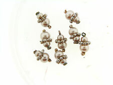 Vintage Victorian Champagne Glass Coated Pearl Based Cluster Drops Findings Lot