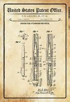 Ee.uu. Patent Relleno Pistola Bolígrafo 1954 Letrero Cartel de Lata 20 X 30CM