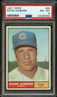 1961 Topps BB Card # 88 Richie Ashburn Chicago Cubs HOF PSA NM-MT 8 !!!!