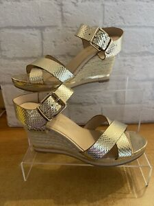 *River Island NWOT UK 5 EUR 38 Gold Rope Wedge Cross Front Sandals Shiny