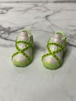 Jade Hunter Doll Shoes Rainbow High Green White Studded Sneakers 10""