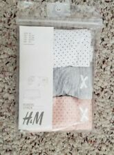 NWT H&M Girls Pack of 3 Underwear Pink White Gray Polka Dot & Solid Sz 18-24M